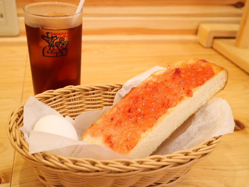 コメダ珈琲の「モーニングA(トースト+ゆで玉子)」